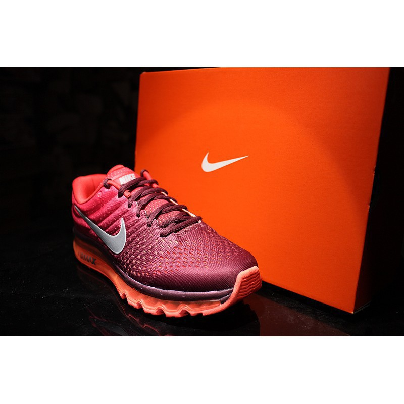 lh*Ready stock Nike Air Max 2017 dark red men's and women's running shoes
