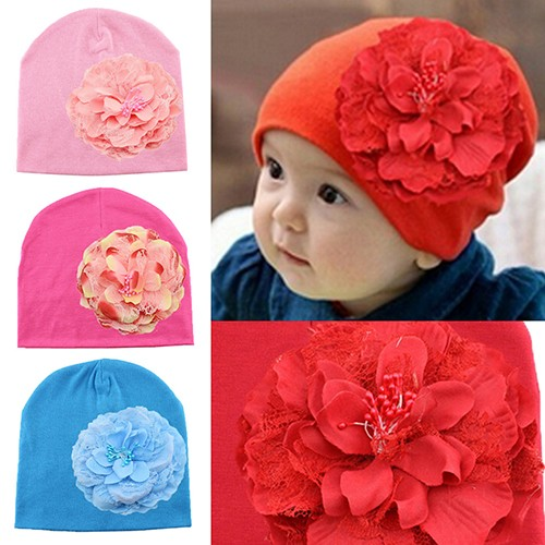f22b21d99 Lovely Newborn Baby Girl Peony Flower Weave Hat Infant Cotton Fabric Spring  Beanie Cap
