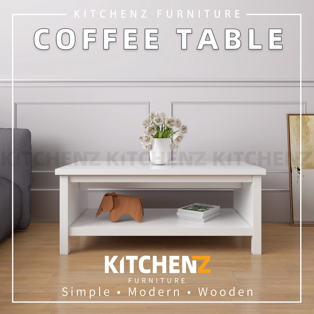 Kitchen Z 3.8FT Paisley Series Coffee Table Modernist Design Solid Board with Plastic Wood Leg - HMZ-FN-CT-P1160-WT