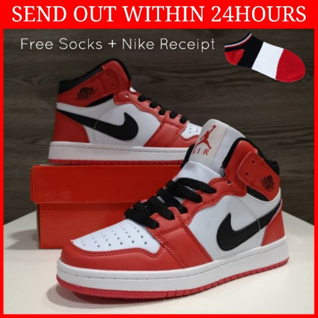 Afectar reposo oscuro  SIZE 38-44) NIKE AIR JORDAN 1 AJ1 RED WHITE READY STOCK + FREE SOCKS |  Shopee Malaysia