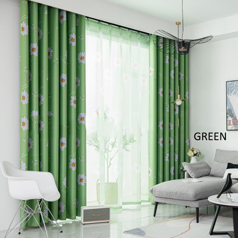 GDeal Simple Sunflower Design Thick Curtains Woven Fabric Bedroom Living Room Blackout Curtain Langsir (100CM x 130CM)