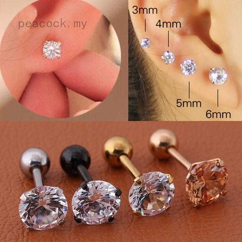 979d783a69d2f 1 Pair Steel Barbell Zircon Cartilage Helix Tragus Lip Earring Stud ...