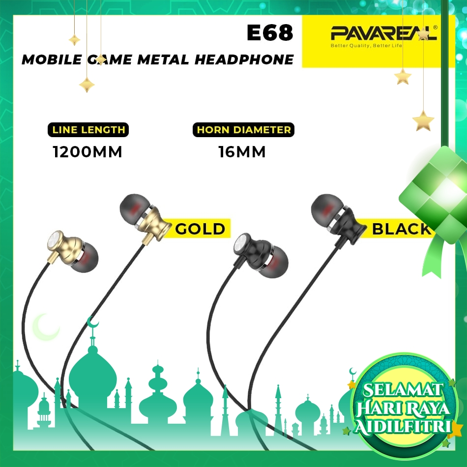 PAVAREAL PA-E68 L-Shape Game Metal In-Ear Headphones Stereo Earphones for Mobile Game HD Microphone Comfort to the ear