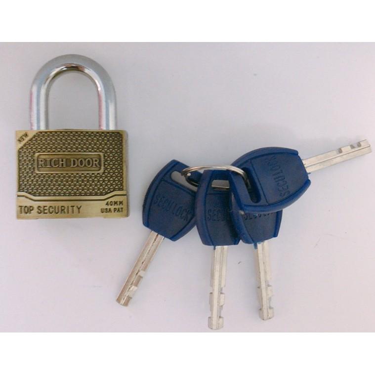 RICHDOOR Zinc Alloy Bronze Heavy Duty Padlock Anti Cut Anti Rust Premium Quality Pad Lock 40mm