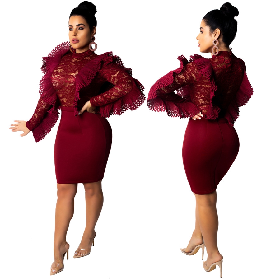 Gorgeous Ruffle Lace Short Gown Bodycon Dress Evening Clubwear