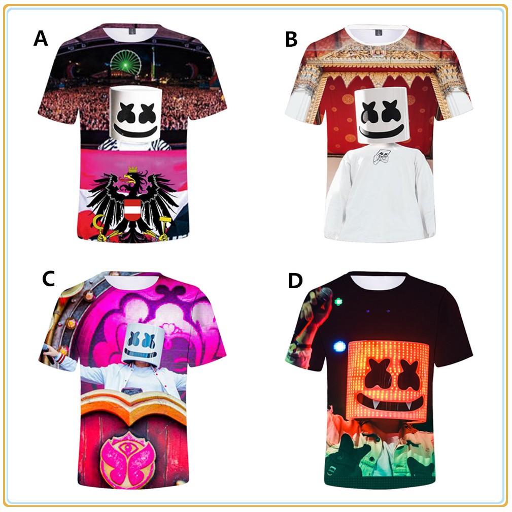Boys Girls Kids DJ Marshmello 3D Printing Short Sleeve T-shirt Summer Clothing
