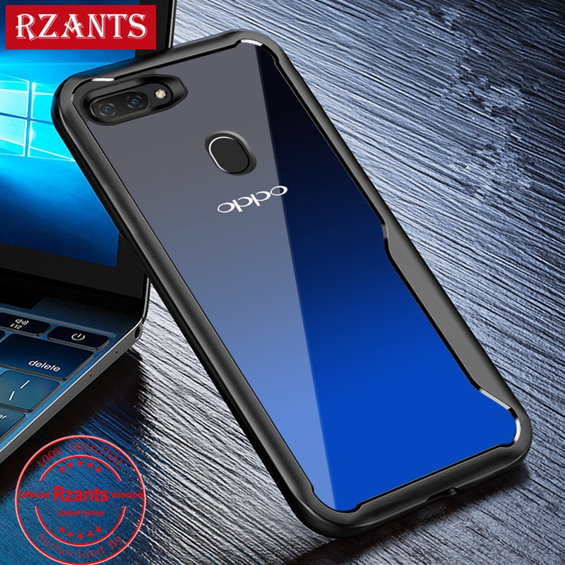 OPPO A7 Case Clear PC Back+Soft Edge Anti-Drop Phone Casing Slim Thin Cover