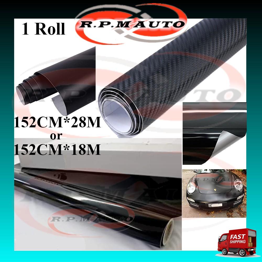 1 Roll Sticker for car kereta Glossy Carbon Matte Shiny Black 28M*152cm sticker kereta