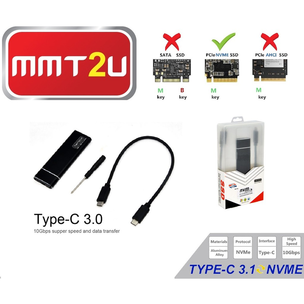 M2 NVMe  enclosure box USB 3.1 type C to M key NGFF for intel ssd portable case
