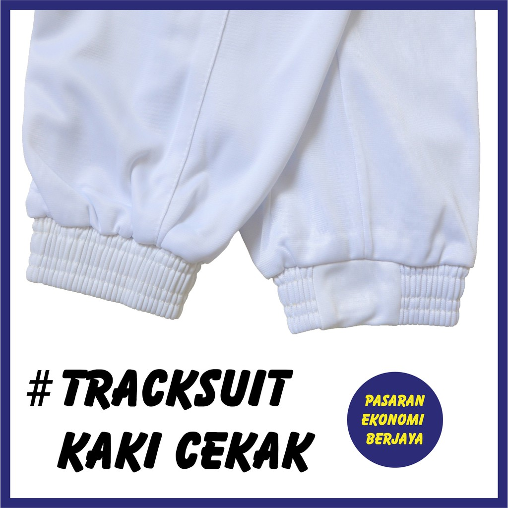 SELUAR TRACK KOSONG TEBAL PUTIH CEKAK/ TRACK BOTTOM UNISEX/ TRACK SUIT/ WHITE TRACK/ SELUAR TRACK SEKOLAH/ SELUAR SUKAN