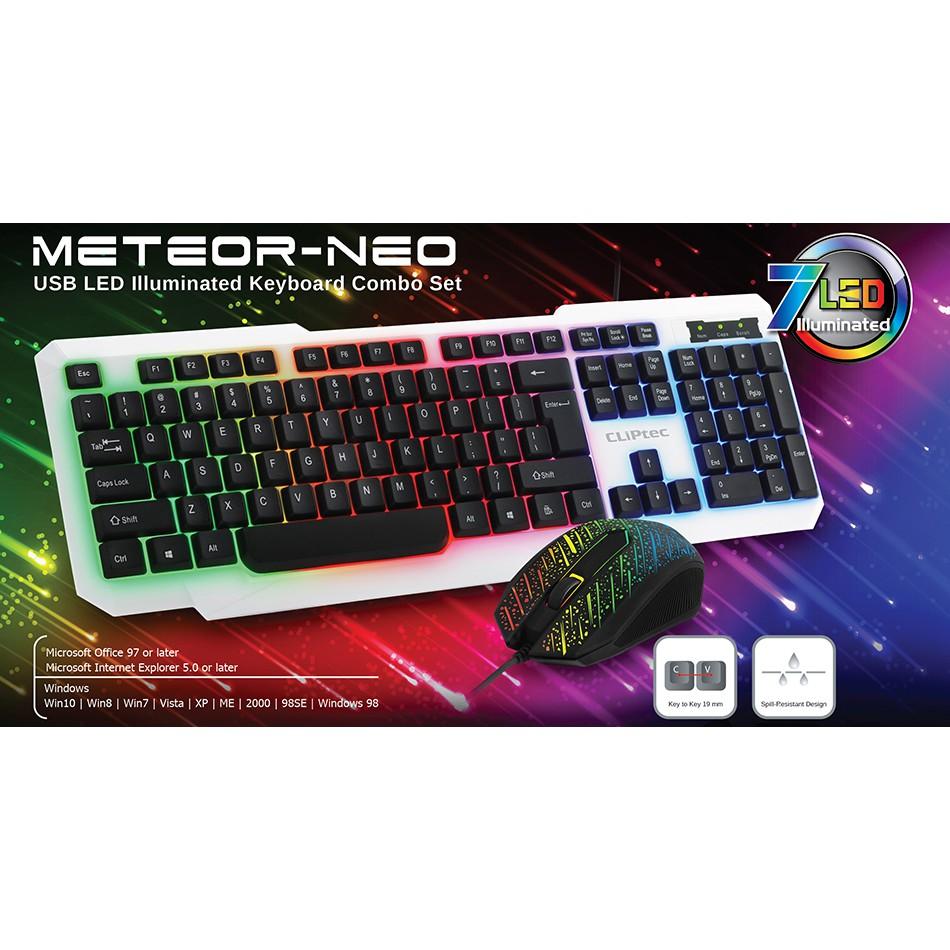 Cliptec Meteor Neo Usb Led Illuminated Keyboard Combo Set White M110 Rechargeable Wireless Mouse 1600dpi Grey Rzk260 Shopee Malaysia