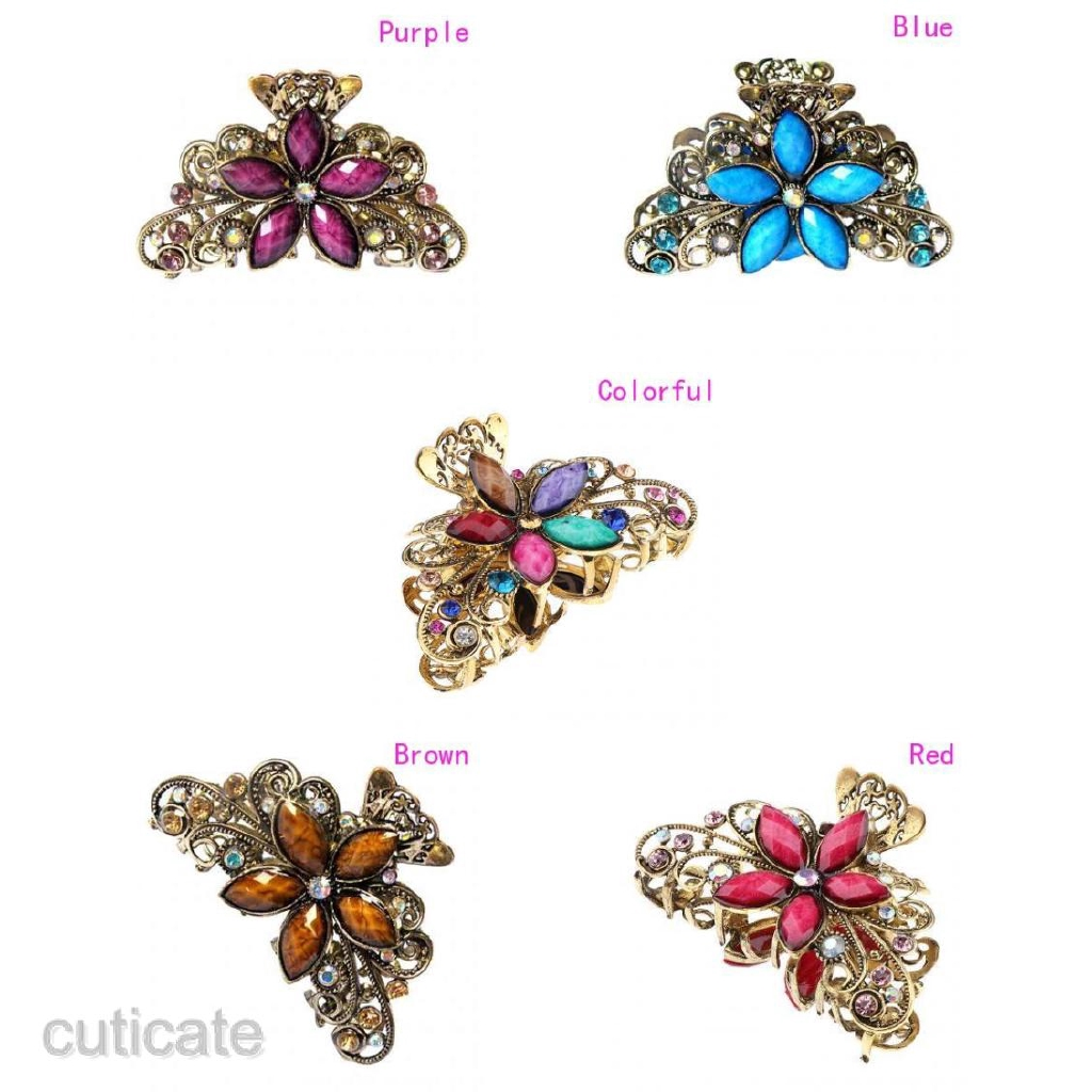 Women/'s Antique Metal Hair Claw Clips Crystal Butterfly Flower Clamps Brown