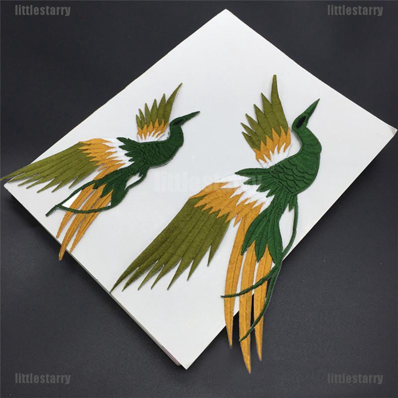 1set Phoenix Bird Iron on Embroidery lace Cloth Paste Fabric Applique Patch LJ