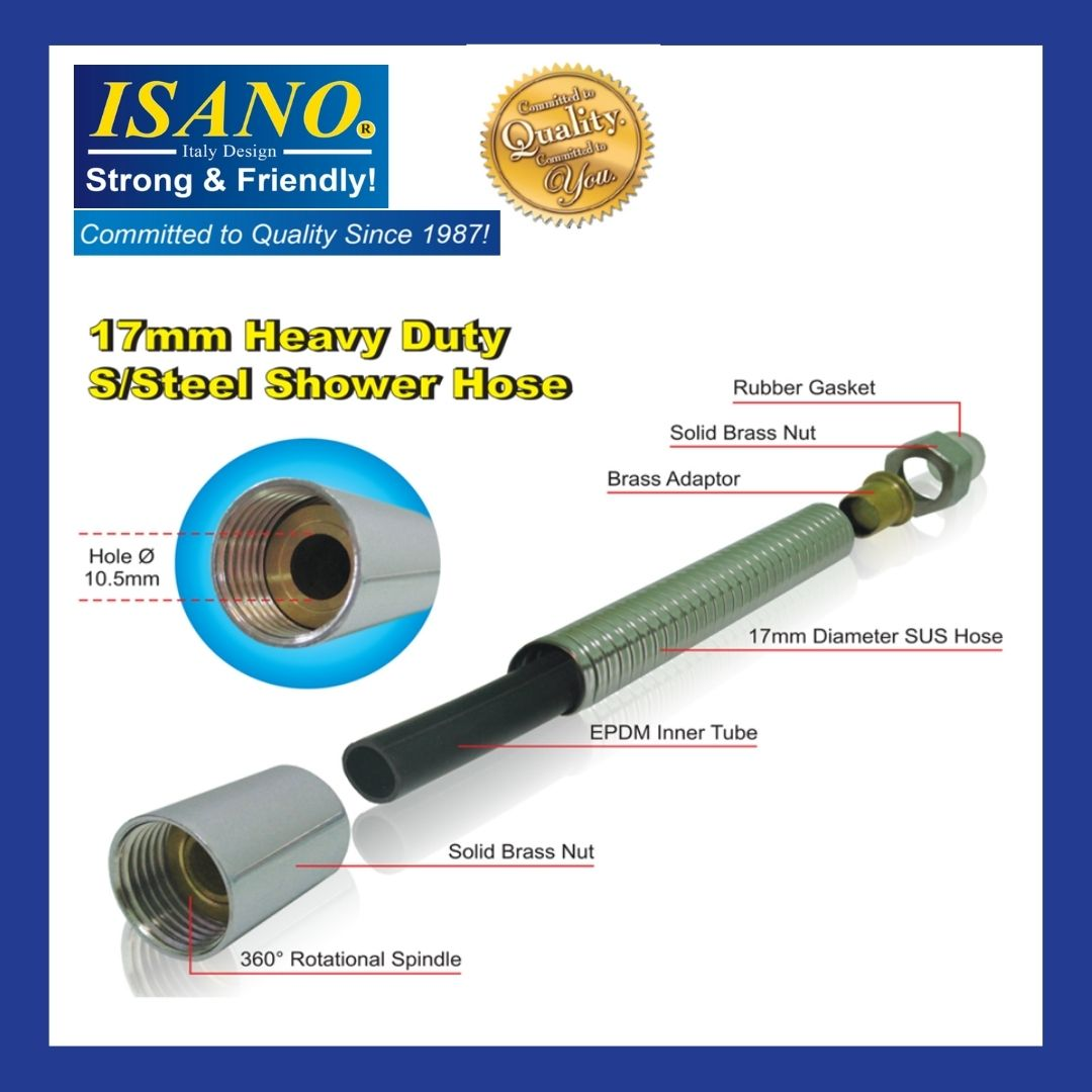 ISANO 17MM  Heavy Duty Stainless Steel Shower Hose 1312HH / 1315HH / 1318HH