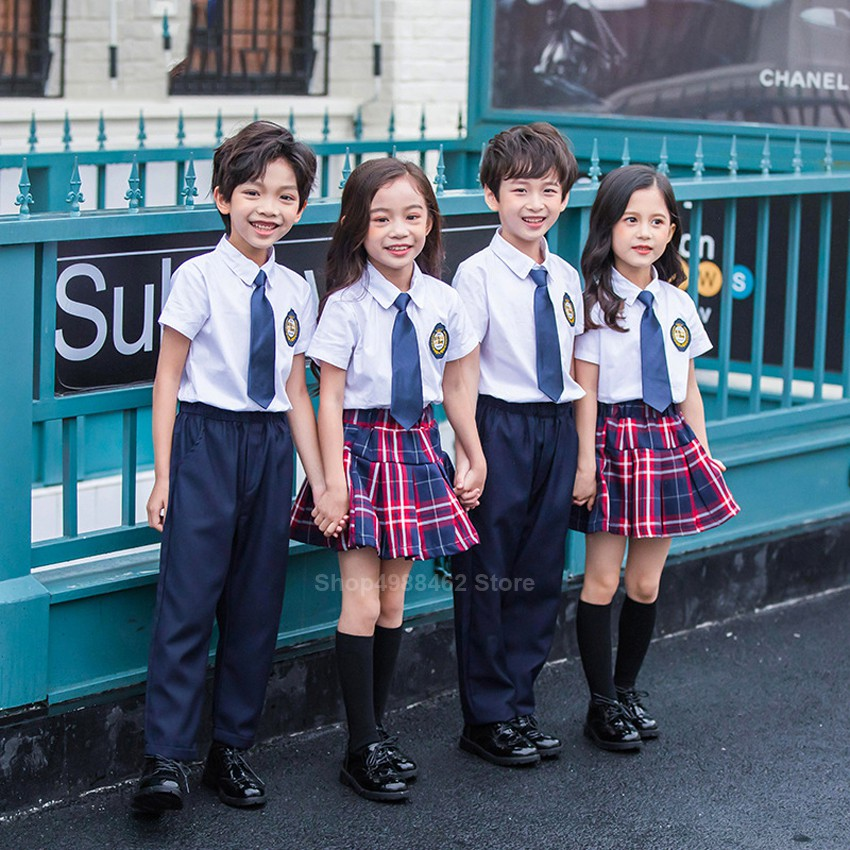 100-150cm Children School Uniform Student Boys Girls 2PCs Clothing Set  Primary High School Shirt Skirt Costume for tee | Shopee Malaysia