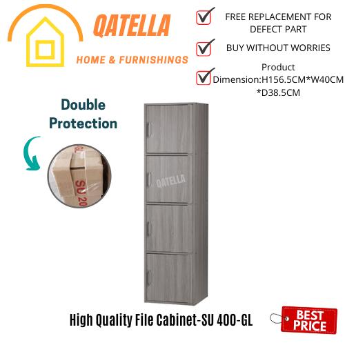 Qatella DIY 4 Compartment Shelf with Doors H157cm W40cm D39cm/Utility Shelf/Book Rack/Storage Cabinet/Book Shelf(SU 400)