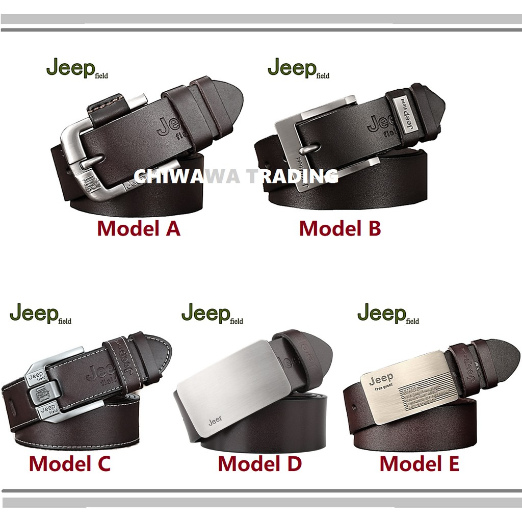 JEEP 100% Top Cow Buckle Genuine Leather Luxury Pronged Pin Strap Men's Belt All