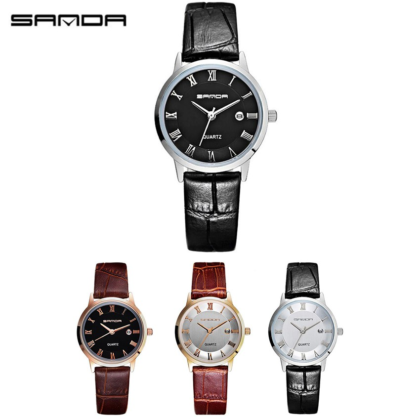 66a8c4bd78ab SANDA Women´s P188L Genuine Leather Black Band Date Display Quartz Watch