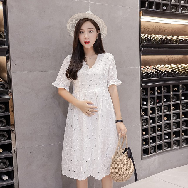 0c88af8f846d4 Maternity wear new Korean fashion loose cotton lace breastfeeding ...