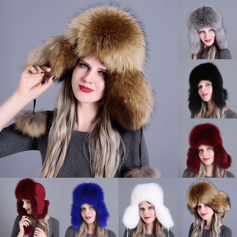 e42c5350f Women Real Fox Fur Autumn Winter Snow Natural Trapper Bomber Hat Adjustable  Cap