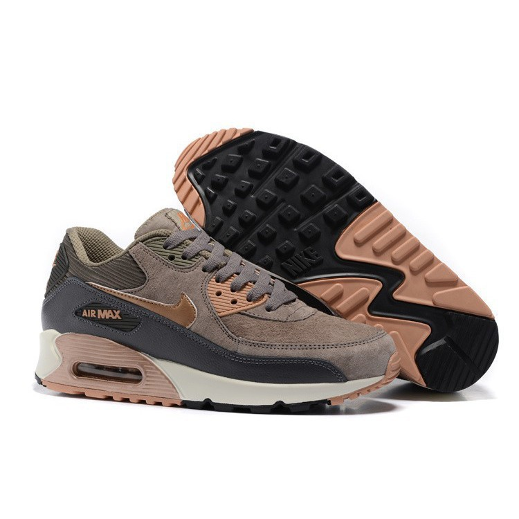 MensWomens Nike Air Max 90 Leather Running Shoes Iron Bronz