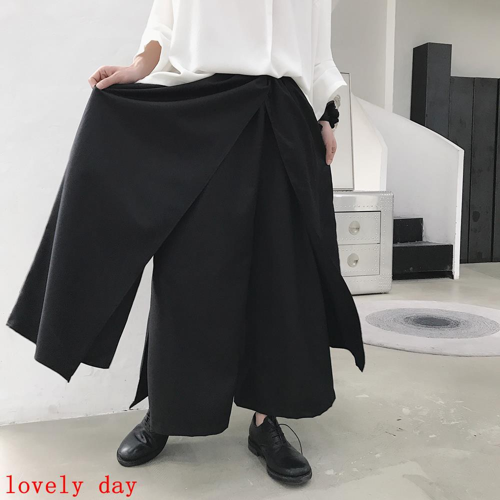 68fab95a0e7 Summer solid color personality fold design men s harem pants high street  dark fashion loose Harajuk