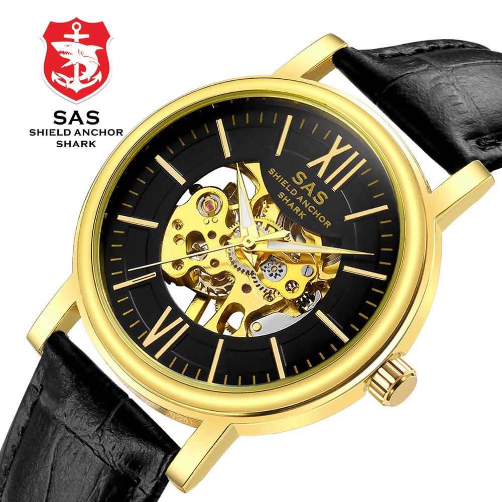 SAS SHIELD ANCHOR SHARK Men's Fashion 3D Skeleton Skull Design Mechanical Watch | Shopee Malaysia