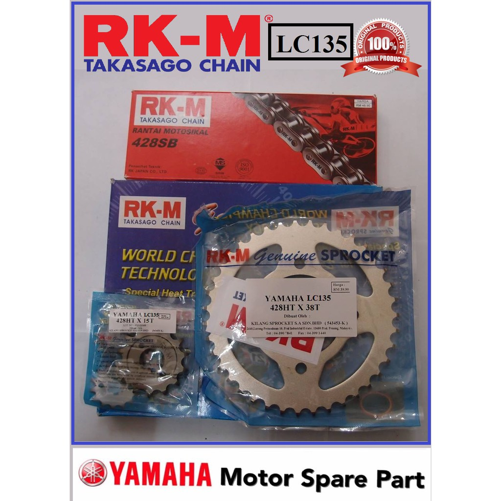 RKM SPROCKET SET LC135 RXZ FZ150 SPROCKET CHAIN RANTAI SET 100% ORIGINAL  RK-M RKM