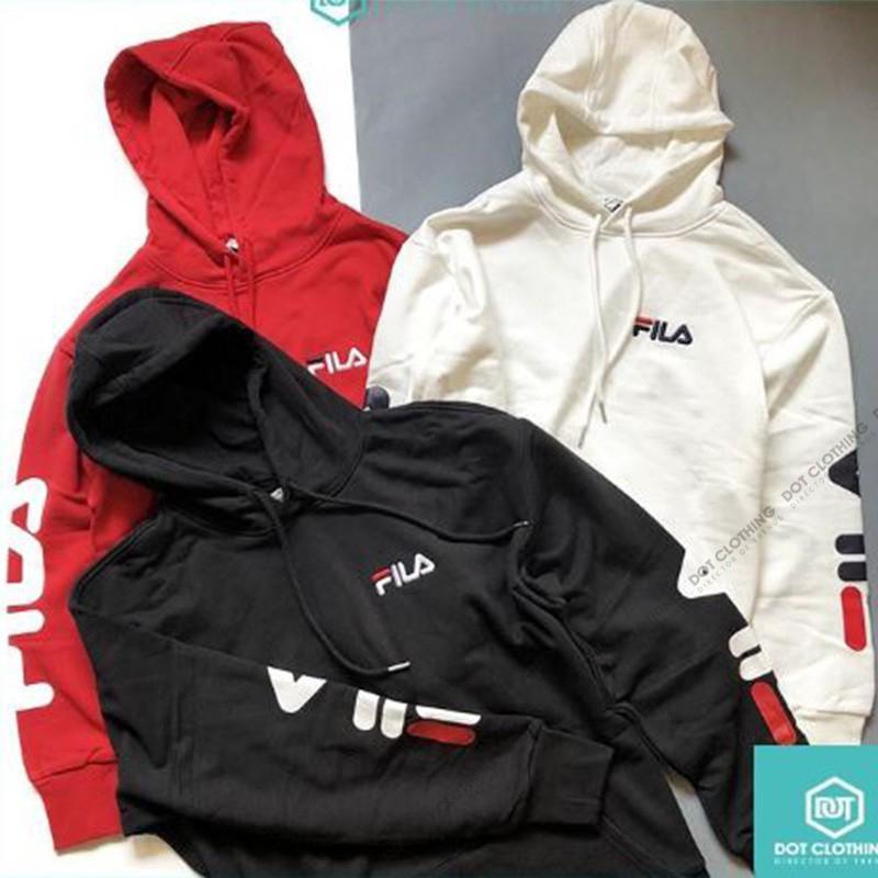 309f35c6 Men Fila Logo Hoodie Black White Red 黑 白 红 帽T