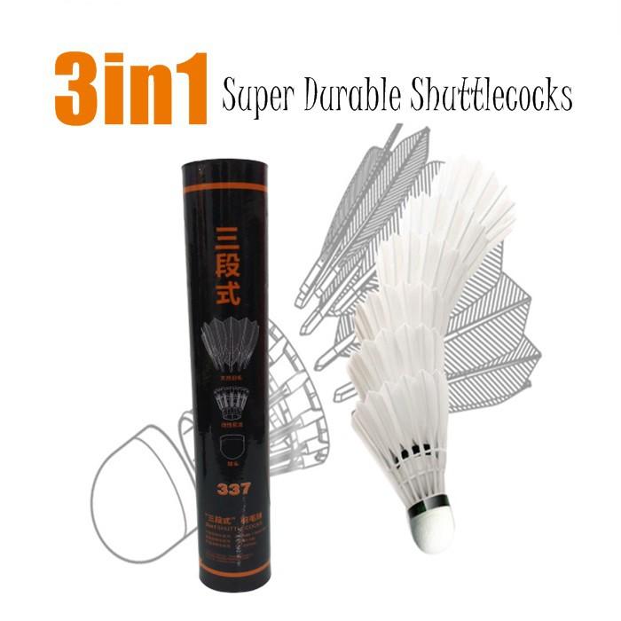 3 In 1 Super Durable Badminton Feather Shuttlecock (12pcs)