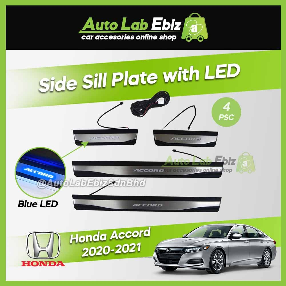 Honda Accord 2020-2021 Side Sill Plate with LED Blue (4 pcs/set)