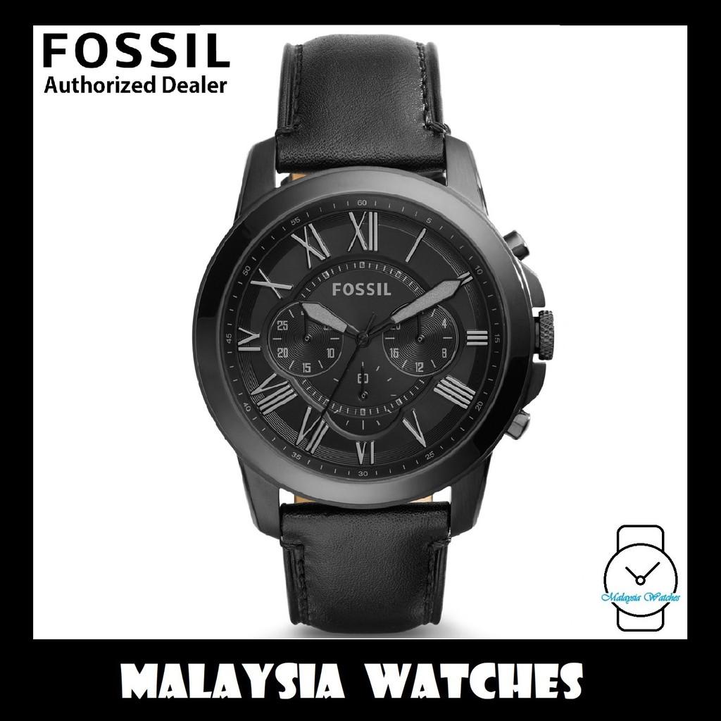 (OFFICIAL WARRANTY) Fossil Men's FS5132 Grant Chronograph Black Case Black  Leather Watch (Black)