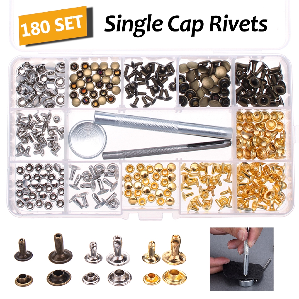 2 Colors Rivets Replacement Silver and Bronze 200 Set 5 Sizes Leather Rivets Single Cap Rivet Tubular Metal Studs with 3 Pieces Fixing Tool for DIY Leather Craft