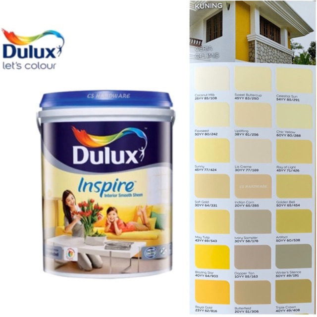 5 Litre ICI DULUX Inspire Interior Smooth Sheen Paints (YELLOW)