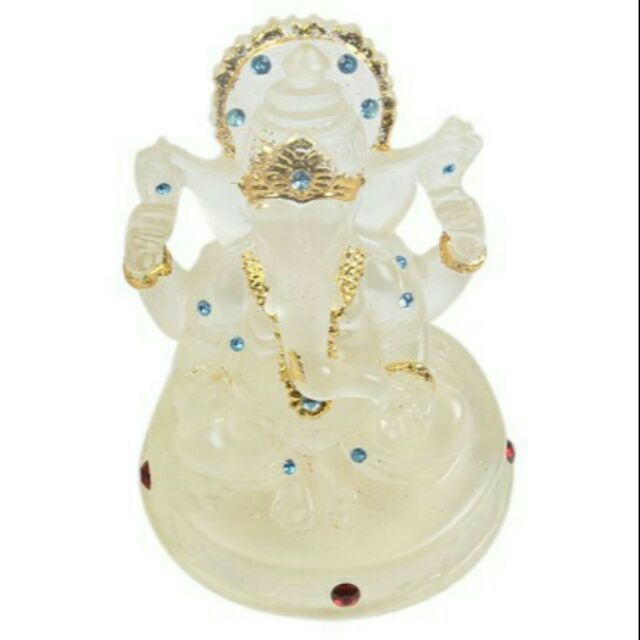 Lord Ganesha Idol White Studded With Stones Shopee Malaysia