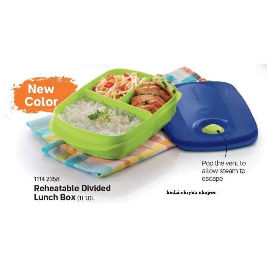 Tupperware Microwave Safe Reheatable Divided Lunch Box 1L
