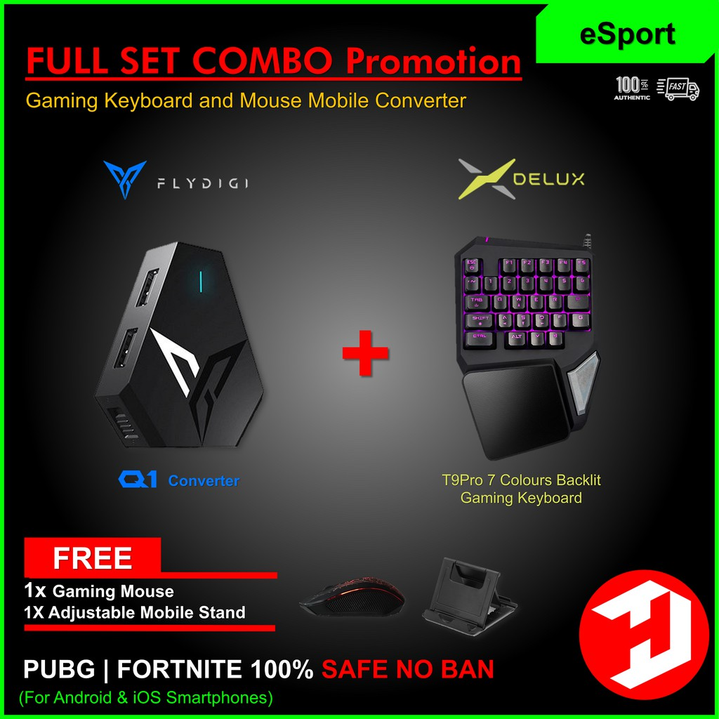 [PUBG NO BAN] FULL SET COMBO FLYDIGI Q1 Keyboard Mouse Converter for  iOS/Android