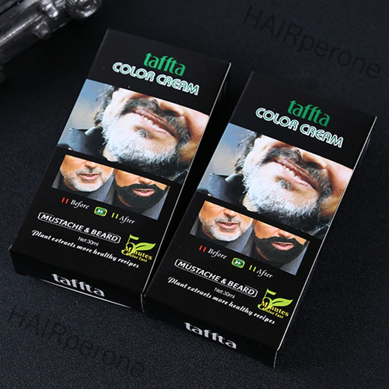 HAIRperone Men Mustache & Beard Dye Cream Fast Color Natural Black Beard Tint Cream with 1 Pair of Disposable Gloves