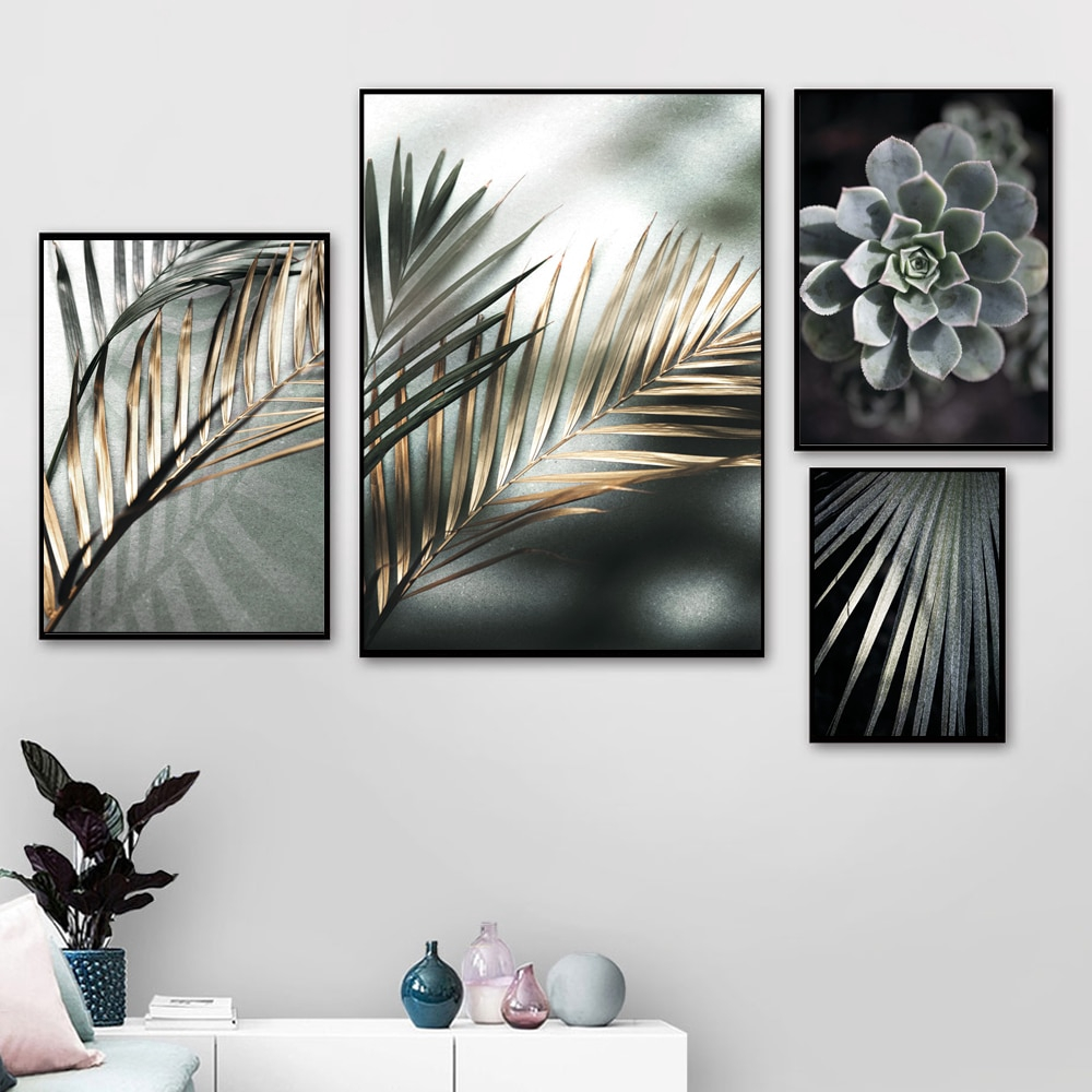 Abstract Black Leaf Canvas Art For Living Room Aisle Golden Ink Paintings Decoration Posters Prints Unique Nordic Wall Art Home Shopee Malaysia
