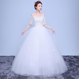 White Korean Fashion Off Shoulder Lace Wedding Dress Bridal Gown Evening Dress
