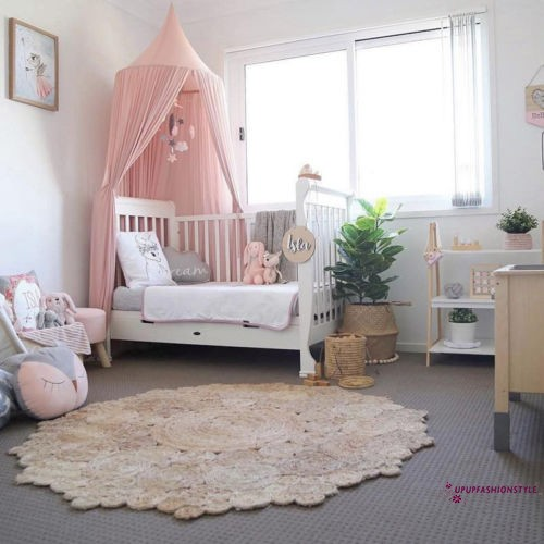 Kid Baby Bed Crib Netting Canopy Bedcover Mosquito Net Curtain Round Dome Tent Cotton Bedding Crib Netting Baby Bedding
