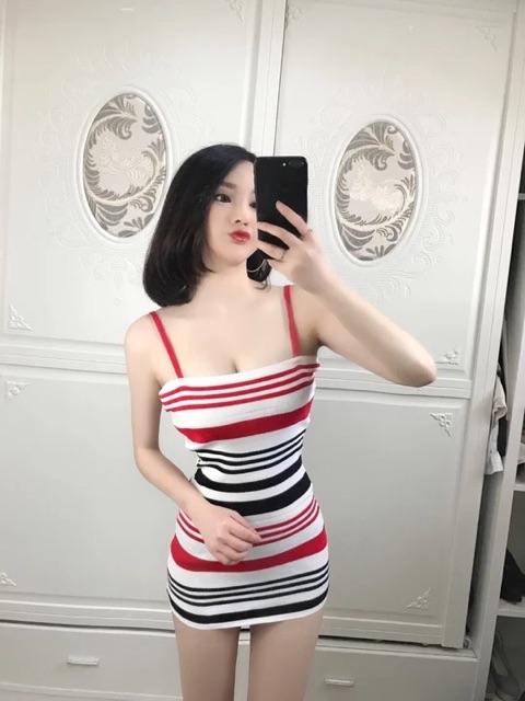 [Free Size]Summer sexy striped dress 夏季主播服装夜店女装性感拼色彩色条纹修身包臀吊带连衣裙潮