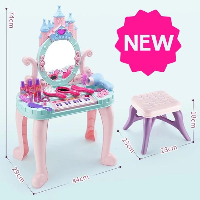 [ READY STOCK ]  Music Piano Dressing Table Princess Girl Cosmetic Hair Dryer Pretend Makeup Toy Baby Budak Mainan Murah