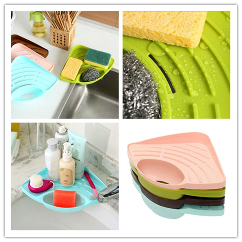 Kitchen Sink Corner Storage Shelf Soap Sponge Drain Holder Bathroom Hanging Rack Racks Holders Home Garden