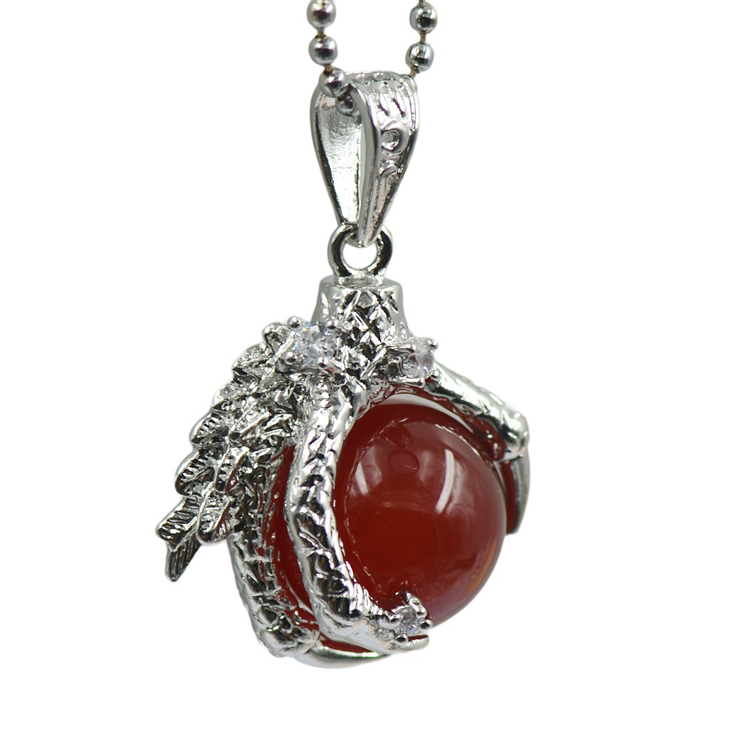 Silver Dragon Claw Wrapping Nature Red Agate Pendant Necklace Beads Chain