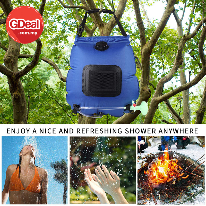 GDeal 20L Solar Shower Bag With Thermometer Outdoor Camping Convenient Foldable Water Storage Bag