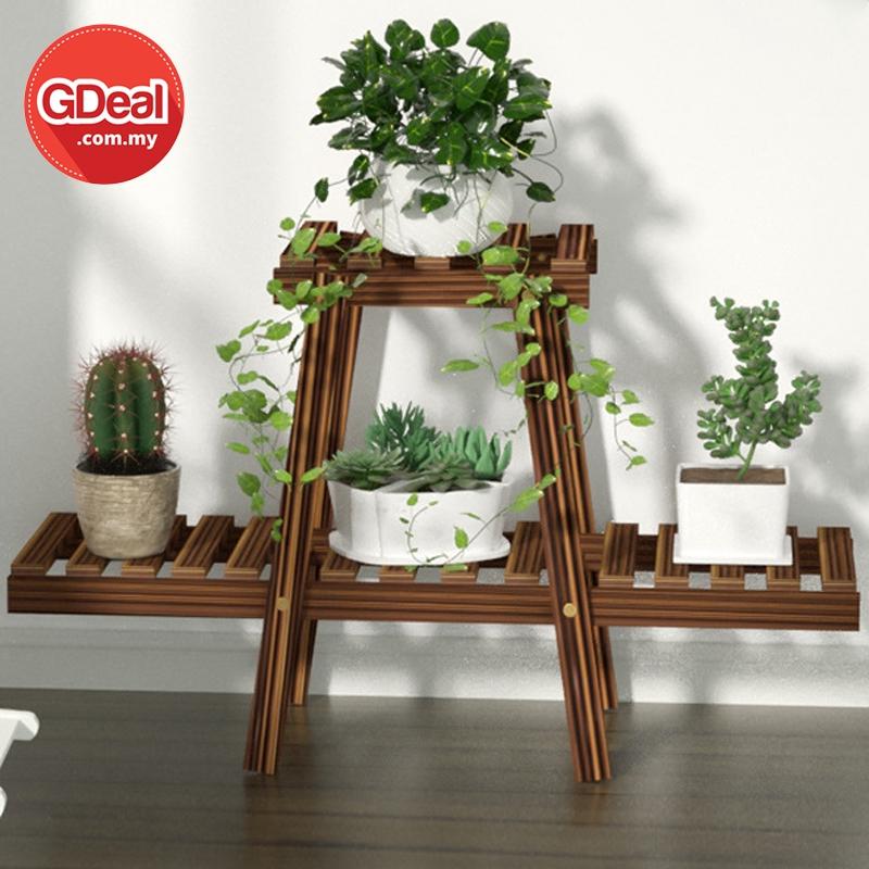 GDeal Balcony Wooden Flower Pot Stand Indoor Flower Display Rack Rak Pasu Bunga رق ڤاسو بوڠا