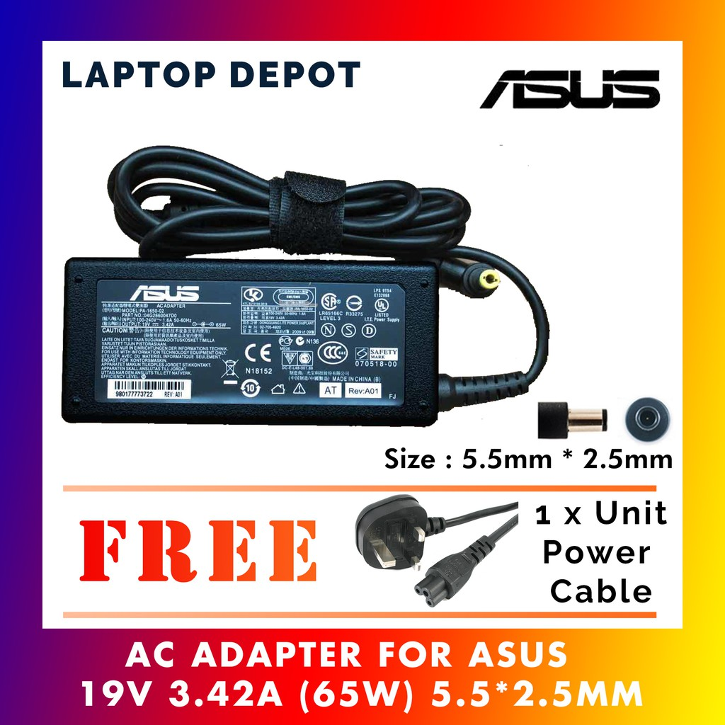 Laptop/Notebook ASUS 19V 3 42A ( 65W ) 5 5 * 2 5 mm POWER AC Adapter Charger