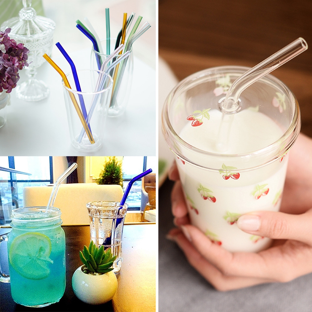 Bent Glass Tube Colorful 8MM Eco-friendly Drink Straw For Cocktail Party