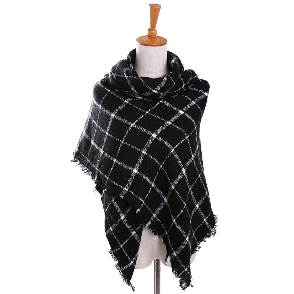 Women Men Blanket Tartan Thick Long Scarf Plaid Checked Pashmina Cape Shawl Wrap